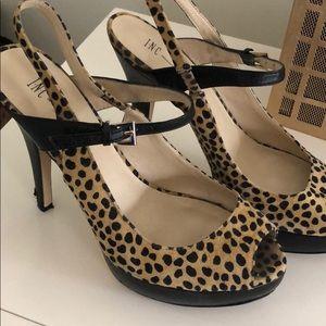 INC (Macys) cheetah print sling-back peep-toe pump